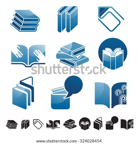 Set Nine Icons Books Silhouettes Education Stock Vector 324028454