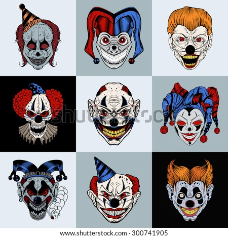 Set of nine images with painted fantastic cartoon scary clown. - stock vector