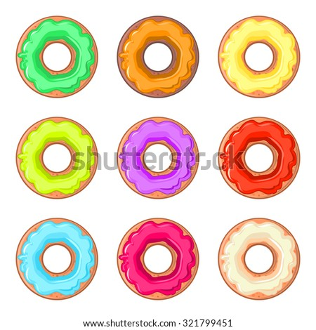 Set of nine isolated donuts with colorful glaze - stock vector
