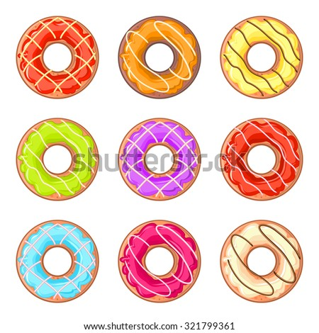 Set of nine isolated donuts with colorful glaze and lines - stock vector