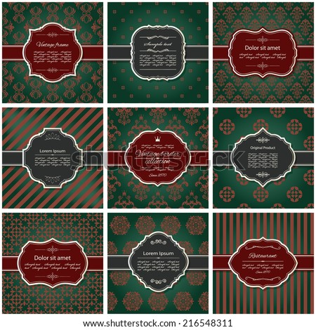 Set of nine luxury frames and pattern backgrounds in royal green, red and silver.  - stock vector