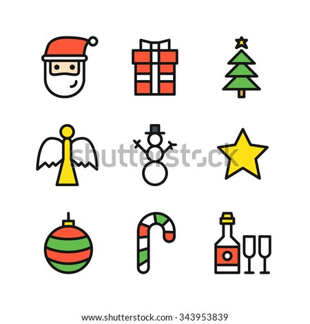 Set of nine outline colored icons for Christmas with Santa head, gift with ribbon, Christmas tree with golden star on top, angel statue, snowman, golden star, ball, striped candy, bottle with glasses - stock vector