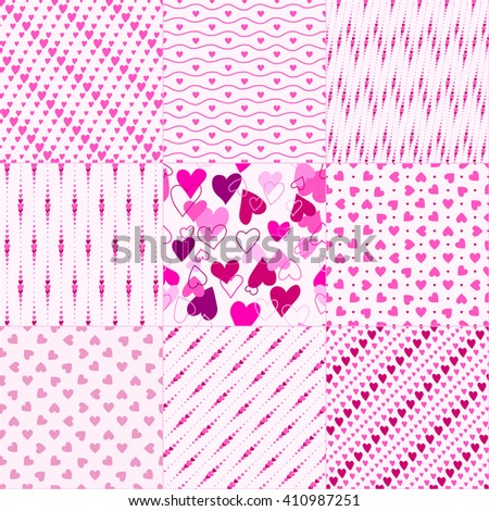 Set of nine pink seamless patterns with hearts
