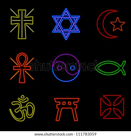 Set of nine religious symbols rendered in neon style - stock vector