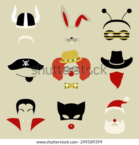 Set of nine Retro Party masks for photo booth and scrapbooking. Vector illustration - stock vector