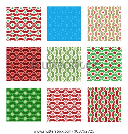 Set of nine seamless pattern in classic red and green, blue and gold colors. Holiday texture - stock vector