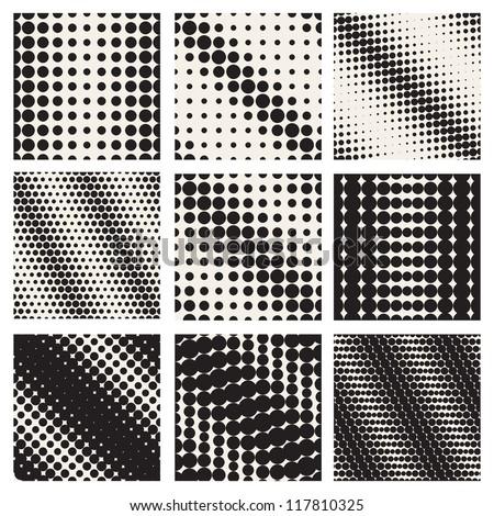 Set of nine seamless patterns. Diagonal dots. Vector repeating texture, Geometric mesh - stock vector