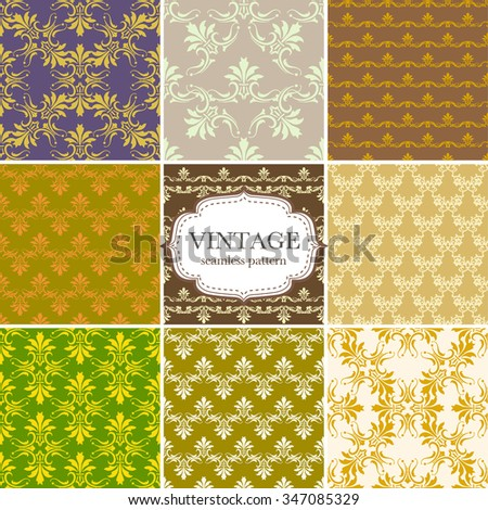 Set of nine seamless vintage pattern. Vector background for textile design. Seamless pattern can be used for wallpaper, pattern fills, web page background,surface textures.