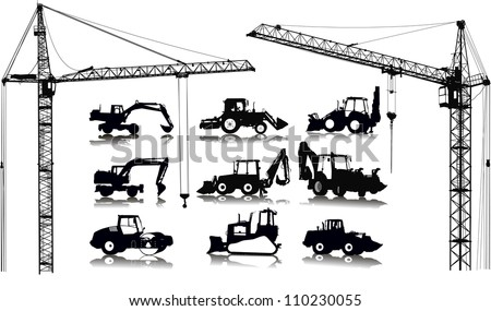 Set of 9 (nine) silhouettes of tractors and 2 (two) cranes - stock vector