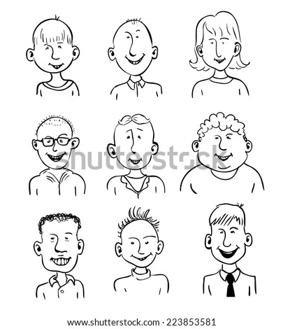 Set of nine smiling cartoon faces. Black and white