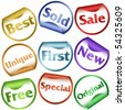 Set of nine stickers or labels with words: best, sold, sale, unique, first, new, free, special and original - stock vector