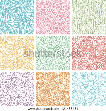 Set Of Nine Textured Natural Seamless Patterns Backgrounds - stock vector
