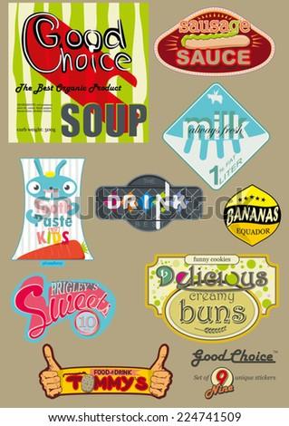 set of nine unique vintage stick labels - stock vector