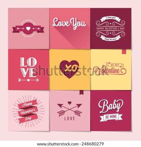 set of nine Valentine's day stickers, vector illustration - stock vector