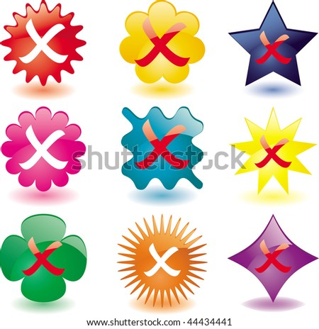 "Set of nine various Plastic ""No"" buttons, vector"