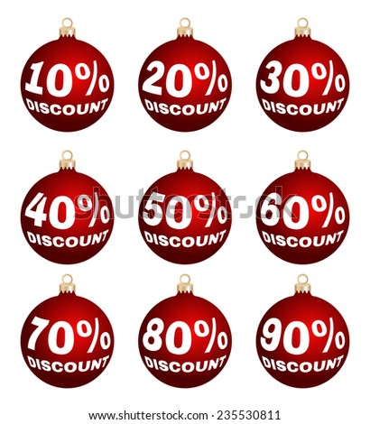 Set of nine vector discount price signs - christmas balls. Isolated sale labels on white background. Suitable for christmas or end of year or new year sale-out. - stock vector