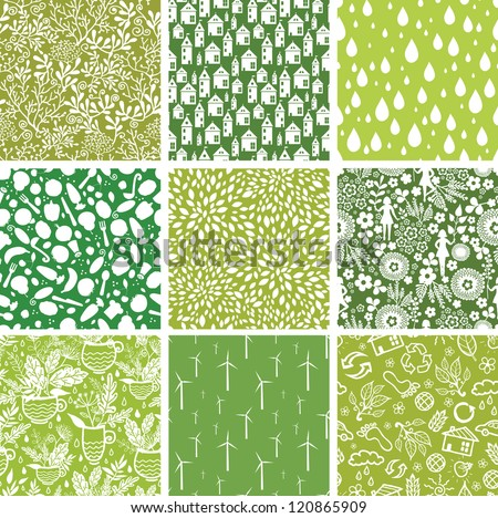 Set of nine vector ecological seamless patterns backgrounds with hand drawn elements. - stock vector