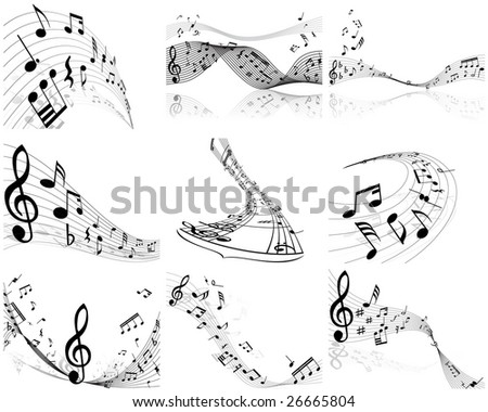 Set of  nine vector musical notes staff - stock vector