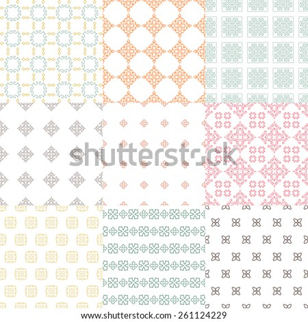Set of nine vector seamless geometrical patterns. Vintage textures. Decorative background for cards, invitations, web design. Retro digital paper.  - stock vector