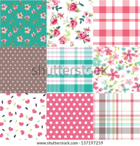 set of nine vintage flower with check ,cute heart vector pattern background - stock vector