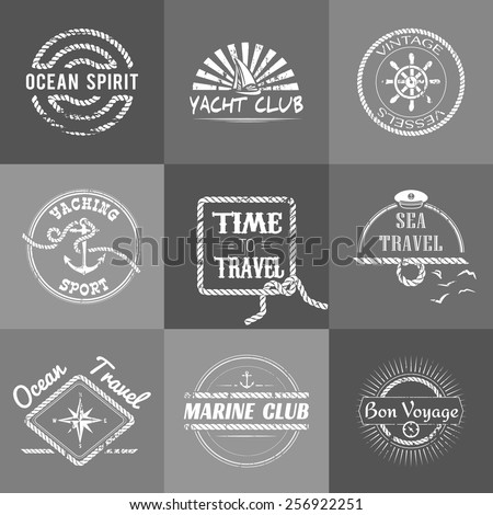 Set of nine vintage marine stamps isolated. Vector retro nautical anchor badges. Ocean graphic logo. Travel emblem. Sailor symbol. Sea cruise illustration. Yacht club sport banner - stock vector
