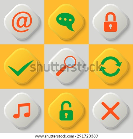 Set of nine web icons. Lock. Unlock. Approve. Cancell. Search. Update and synchronization. Multimedia. Mailbox. Vector element of graphic design - stock vector