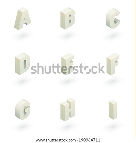 Set of nine white vector isometric letters with shadows.  - stock vector