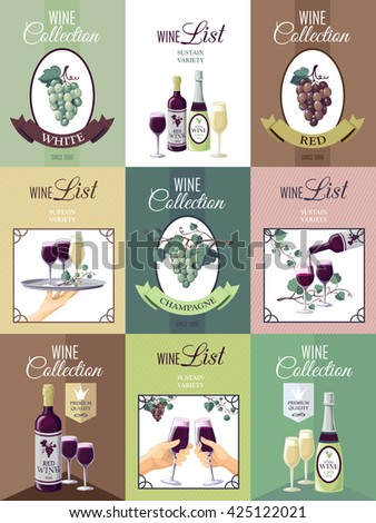 Set of nine wine posters for restaurant or bar menu with presentation of wine collection bunches of grapes vine glasses and bottles  vector illustration - stock vector