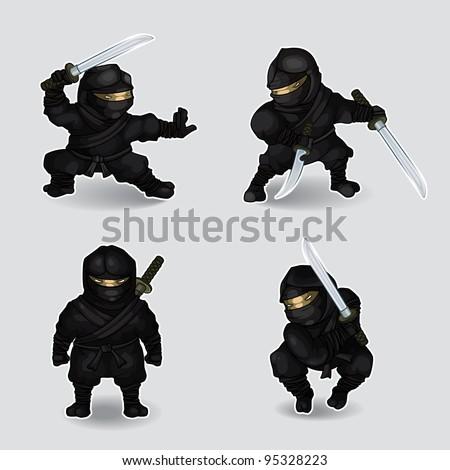 Set of ninja - stock vector