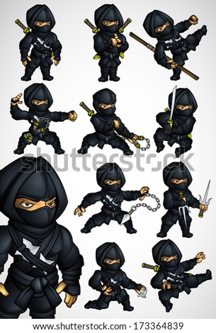 Set of 11 Ninja poses in a black suit - stock vector