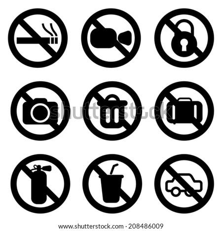 set of No Sign, vector - stock vector