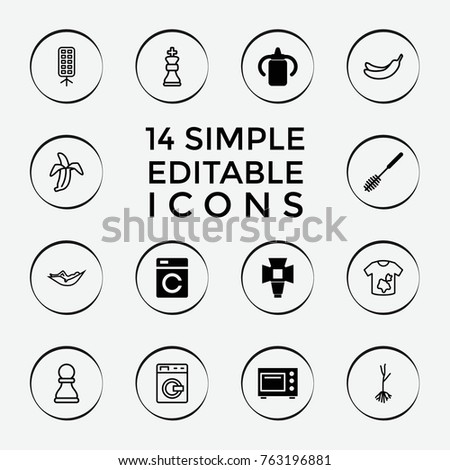 Set of 14 nobody filled and outline icons such as washing machine, baby bottle, toilet brush, soft box, microwave, woman in hammock, banana, dirty laundry, sprout, banana