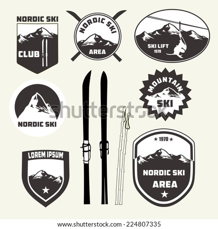 Set of nordic skiing design elements , badges and logo patches - stock vector