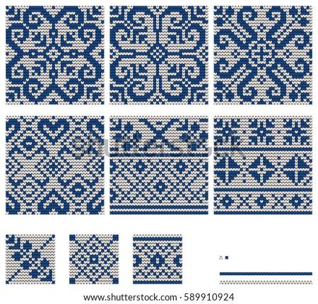 Set Norwegian Star Knitting Patterns Stock Vector 589910924