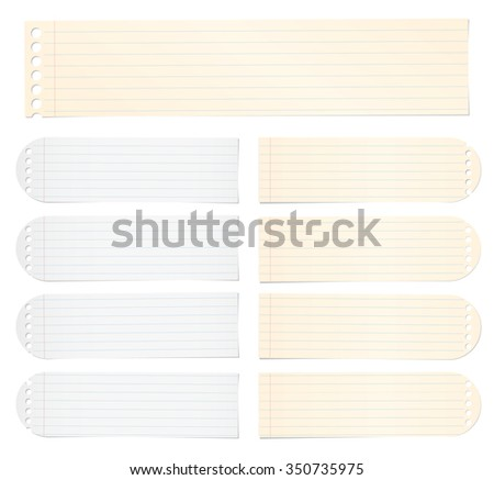 Set of note paper with lines and grid