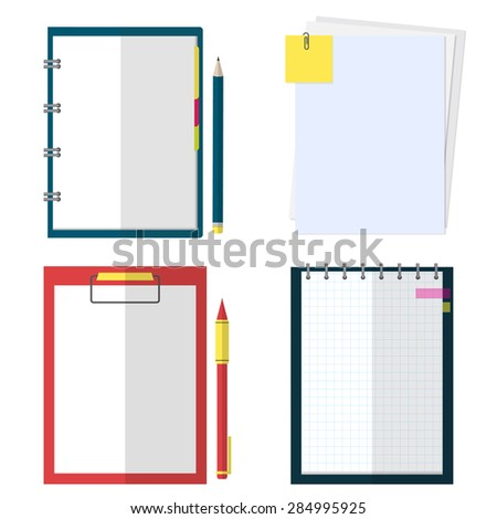 Set of notebook, organizer, clipboard, paper  and sticker with pen and pencil. Illustration in flat style. - stock vector