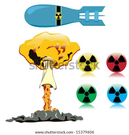 set of nuclear objects - stock vector