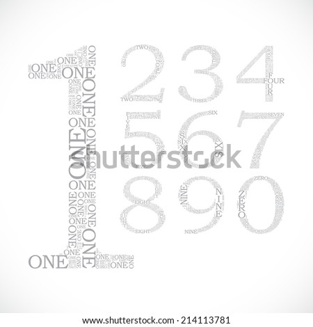 set of number created from text - illustration - stock vector