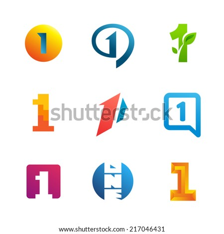 Set of number one 1 logo icon design template elements. Collection of vector signs. - stock vector