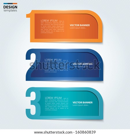 Set of numbered paper banners, bookmarks. Modern design template. - stock vector