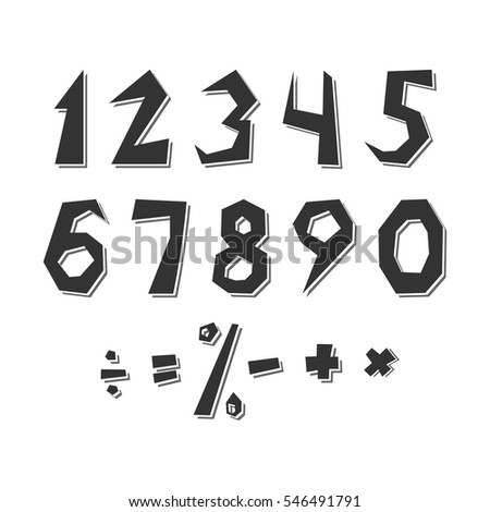 Set of numbers and arithmetic signs in rustic style. Distorted numbers and symbols with shadows.