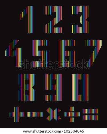 Set of numbers and symbols in the colors of the rainbow on a dark background