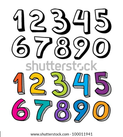 Set of numbers from one to zero in different colors - stock vector