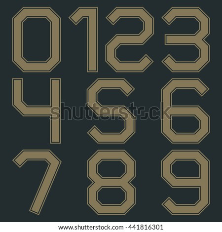 Set of numbers from zero to nine in retro colors, vector illustrations.