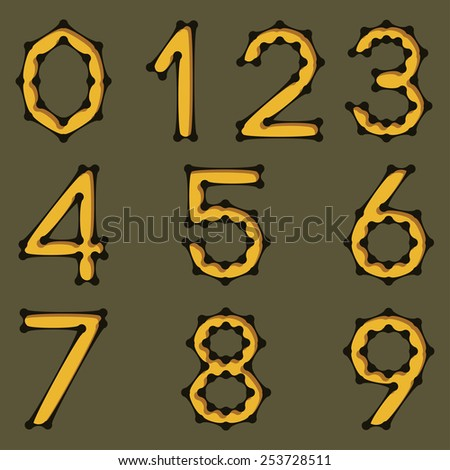 Set of numbers in science style. Vector design.