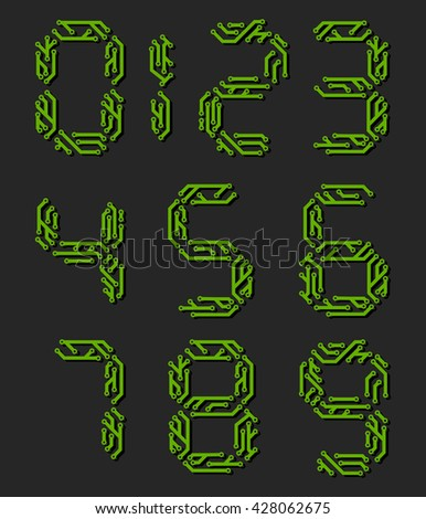 Set of numbers made from printed circuit boards