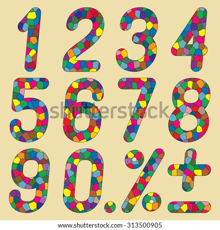 Set of numbers of mosaics. Vector illustration.