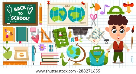 Set of objects and character in a flat design on education. Schoolboy, backpack, it's time for school, ruler, books, apple, education. Cute children's illustration in a vector. Back to School. - stock vector