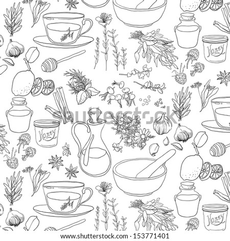 Set of objects and herbs to treat colds. Seamless pattern - stock vector