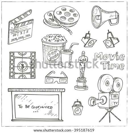 Set of objects and symbols on the cinema theme.  Sketches. Hand-drawing. Vector illustration of for design and packages product. Vector Illustration. - stock vector
